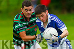 Darragh Buckley Shannon Rangers getting close attention from Trevor Wallace St Brendans at the Garveys Supervalu Senior Championship Round 2 game played in Tarbert on Saturday evening