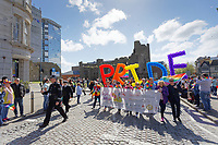 Pictured: The parade travels past Castle Square. Saturday 04 May 2019<br /> Re: Swansea Pride Parade in south Wales, UK.