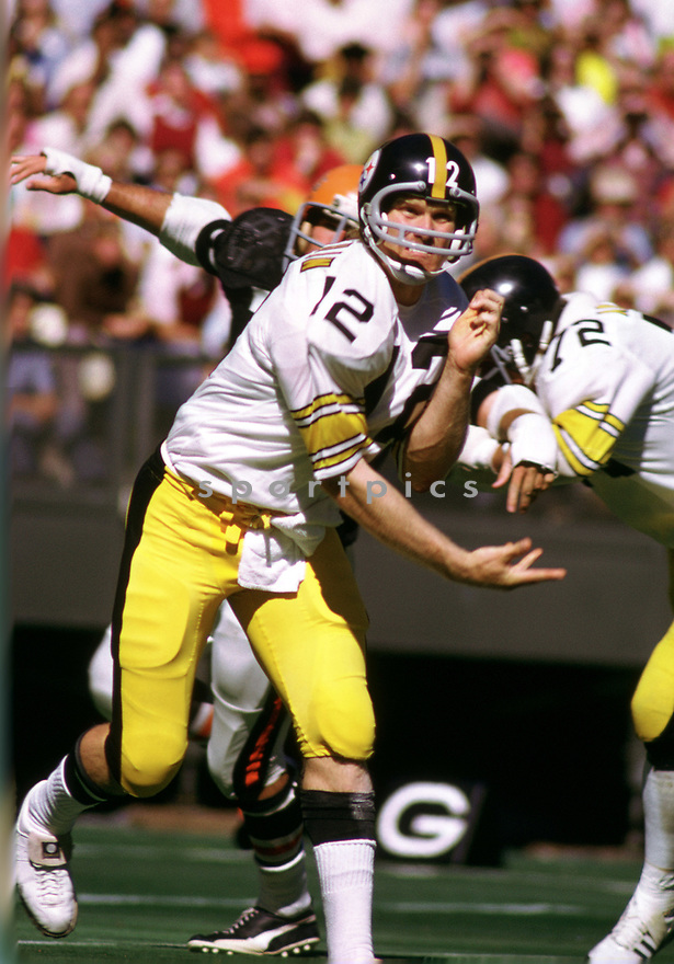 Pittsburgh Steelers Terry Bradshaw(12) during a game from his 1973 season with the Pittsburgh Steelers. Terry Bradshaw played 14 years, all for the Pittsburgh Steelers, was a 3-time Pro Bowler, 1-time first team Pro Bowler and was inducted to the Pro Footbal Hall of Fame in 1989.(SportPics)