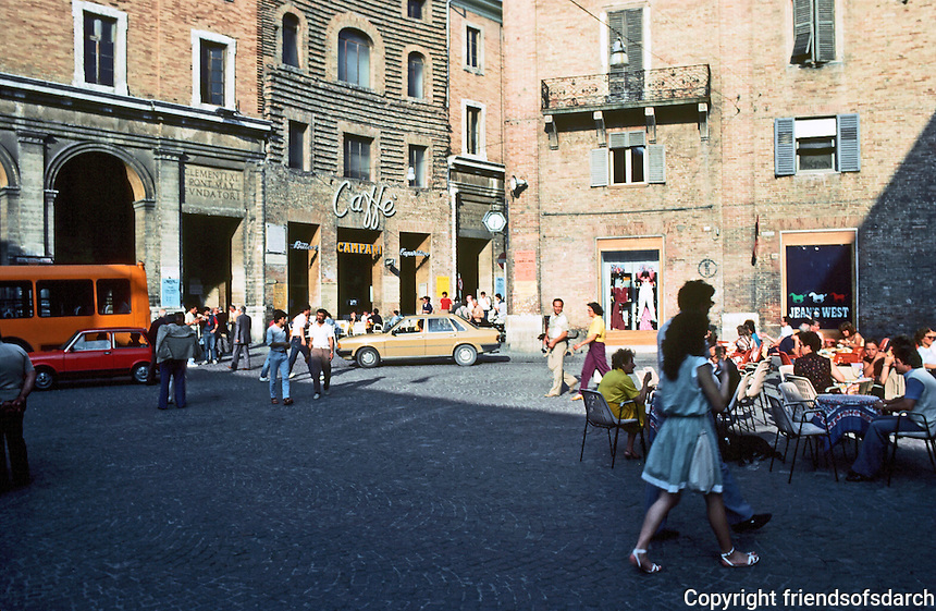 Urbino:  Piazza Della Repubblica--where the action is.  Photo '83.