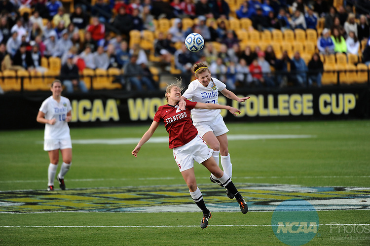 04 DEC 2011: Camille Levin (02) of Stanford University and Alex Straton (27) of Duke University battle for the ball during the Division I Women's Soccer Championship held at KSU Soccer Stadium on the Kennesaw State University campus in Kennesaw, GA.  Stanford beat Duke 1-0 to win the national title.  Joshua Duplechian/NCAA Photos