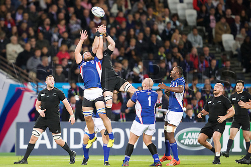 24.09.2015. Olympic Stadium, London, England. Rugby World Cup. New Zealand versus Namibia. Namibia prop Jaco Engels fights for the ball.