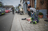 Serious crash for Zak Dempster (AUS/Cycling Academy) after which he was forced to abandon the race<br /> <br /> 72nd Omloop Het Nieuwsblad 2017