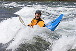 8.0 megapixel digital capture.  Alex Carlson surfing at Happy Hole on the Wenatchee River at Peshastin, Wa in May 2005