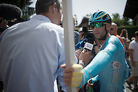 Vincenzo Nibali (ITA/Astana) interviewed after finishing<br /> <br /> Stage 18 (ITT) - Sallanches &rsaquo; Meg&egrave;ve (17km)<br /> 103rd Tour de France 2016
