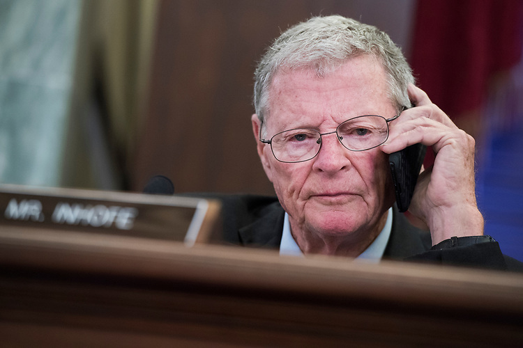 UNITED STATES - JULY 26: Sen. James Inhofe, R-Okla., attends a Senate Commerce, Science and Transportation Committee hearing in Russell Building on nominations on July 26, 2018. (Photo By Tom Williams/CQ Roll Call)