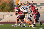 Mission Viejo, CA 05/11/11 - Alex Waller (St Margaret #17), Cole Sutliff (Foothill-Santa Ana #21),Kent Iizuka (St Margaret #11) and Chance Cooper (Foothill-Santa Ana #19) in action during the St Margaret-Foothill boys varsity lacrosse game at Mission Viejo High School for the 2011 CIF Southern Section South Division Championship.  Foothill defeated St Margaret 15-10.