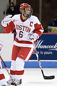 Joe Pereira (BU - 6) stops celebrating as he receives a penalty for interference instead of being awarded a goal. - The Boston University Terriers defeated the visiting University of Toronto Varsity Blues 9-3 on Saturday, October 2, 2010, at Agganis Arena in Boston, MA.