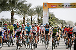 The start of Stage 4 of 10th Tour of Oman 2019, running 131km from Yiti (Al Sifah) to Oman Convention and Exhibition Centre, Oman. 19th February 2019.<br /> Picture: ASO/P. Ballet | Cyclefile<br /> All photos usage must carry mandatory copyright credit (&copy; Cyclefile | ASO/P. Ballet)