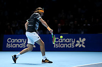 17th November 2019; 02 Arena. London, England; Nitto ATP Tennis Finals; Stefanos Tsitsipas (Greece) with a backhand return to Dominic Thiem (Austria) during the mens singles final - Editorial Use