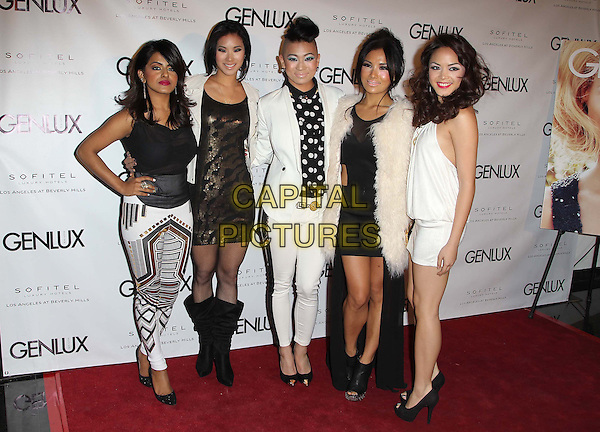 Pop music girl group Blush.Genlux Magazine cover girl Kristin Chenoweth celebrates the opening of Riviera 31, held at The Sofitel, Los Angeles, California, USA..January 15th, 2013.full length black white gold pattern print dress trousers top jacket band Angeli Flores, Alisha Budhrani, Ji Hae Lee, Natsuko Danjo, Victoria Chan.CAP/ADM/FS.©Faye Sadou/AdMedia/Capital Pictures.