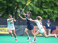 College Park, MD - May 19, 2018: Navy Jenna Collins (44) scores a goal during the quarterfinal game between Navy and Maryland at  Field Hockey and Lacrosse Complex in College Park, MD.  (Photo by Elliott Brown/Media Images International)