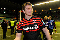 Owen Farrell of Saracens enjoying the moment after winning the Heineken Cup quarter final match between Saracens and Ulster Rugby at Twickenham Stadium on Saturday 6th April 2013 (Photo by Rob Munro)