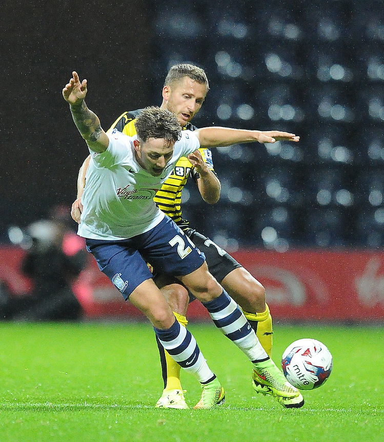 Preston North End's Josh Brownhill battles with Watford's Almen Abdi<br /> <br /> Photographer Dave Howarth/CameraSport<br /> <br /> Football - Capital One Cup Second Round - Preston North End v Watford - Tuesday 25 August 2015 - Deepdale - Preston<br />  <br /> &copy; CameraSport - 43 Linden Ave. Countesthorpe. Leicester. England. LE8 5PG - Tel: +44 (0) 116 277 4147 - admin@camerasport.com - www.camerasport.com