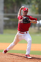 St. Louis Cardinals minor league pitcher Seth Blair delivers a pitch during a spring training game vs the Florida Marlins at the Roger Dean Sports Complex in Jupiter, Florida;  March 25, 2011.  Photo By Mike Janes/Four Seam Images