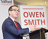 Owen Smith - Labour Leadership contender delivers a speech on the NHS <br /> 15th August 2016 attacking Jeremy Hunt and Theresa May&rsquo;s privatisation agenda, and warning that the health service faces further threats from underfunding and Brexit.<br />  <br /> He also spoke about his personal commitment to the NHS, stemming from his and his family&rsquo;s experience of the service, and will set out his radical plans to increase spending on the NHS every year.<br />  <br /> at <br /> The University of Salford, Manchester, Great Britain <br /> <br /> <br /> Photograph by Elliott Franks <br /> Image licensed to Elliott Franks Photography Services
