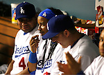LOS ANGELES, CA. - September 02: Manny Ramirez and Jim Thome of the Los Angeles Dodgers  in the dugout during the game Dodgers vs. the Arizona Diamondbacks at Dodger Stadium in Los Angeles, California on September 2, 2009.
