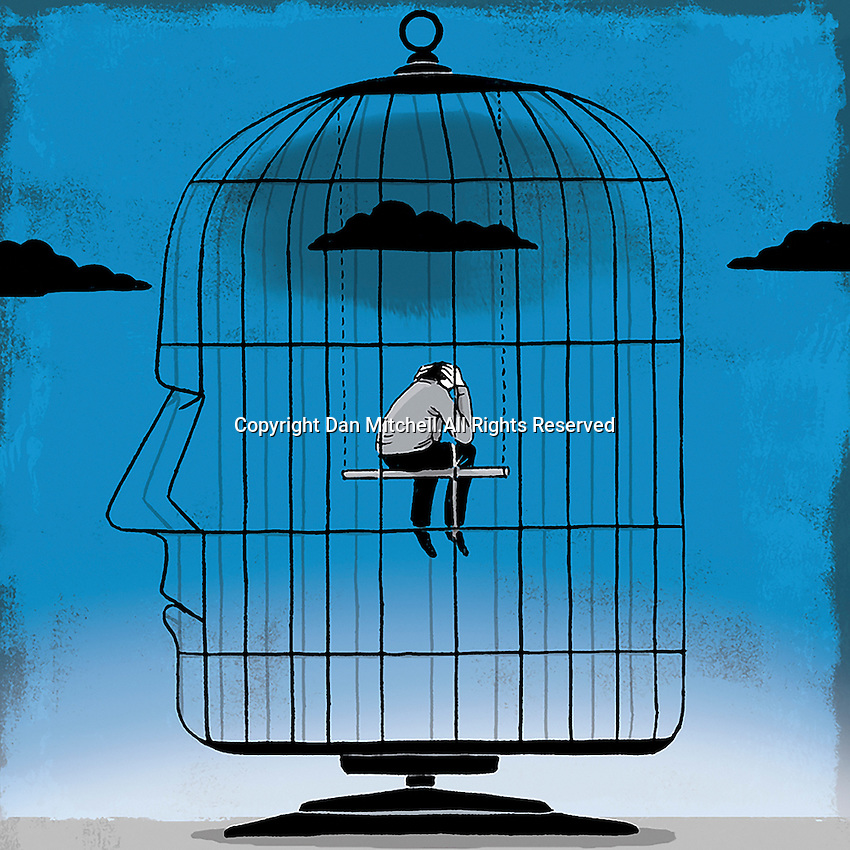 Depressed man inside head-shaped birdcage