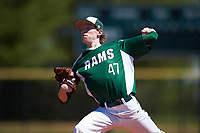 Farmingdale State Rams starting pitcher Nicholas Rooney (47) delivers a pitch during the first game of a doubleheader against the FDU-Florham Devils on March 15, 2017 at Lake Myrtle Park in Auburndale, Florida.  Farmingdale defeated FDU-Florham 6-3.  (Mike Janes/Four Seam Images)