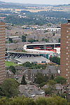 Dundee 0 Greenock Morton 1, 27/08/2011. Dens Park, Scottish League First Division. A view from the top of Dundee Law showing the city's two senior football grounds, with Dundee FC's Dens Park visible in the foreground and Dundee United's Tannadice Park in the background. The two stadia were situated on the same street, a few hundred yards apart.