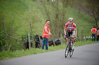 Pim Ligthart (NLD/Lotto-Belisol) up the 'steepest climb' in Holland: Keutenberg (22%)<br /> No fans are allowed on the climb. Only horses and stewards.<br /> <br /> Amstel Gold Race 2014
