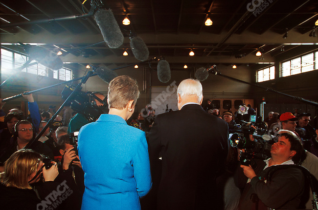 Senator John McCain, during his first run for the Republican presidential nomination, with his wife, Cindy, campaigning at the National Guard Armory. Plymouth, New Hampshire, January 2000.