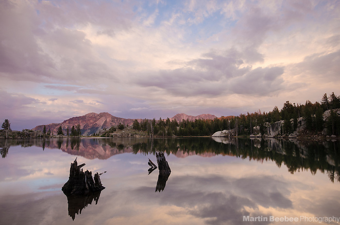 Evening alpenglow on Silver Peak, Upper Kinney Lake, Toiyabe National Forest, California