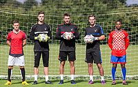 (l-r) Dom Gape, Goalkeepers Henry Newcombe, Matt Ingram & Scott Brown during the PEAK Elite Sportswear Photoshoot at Wycombe Training Ground, High Wycombe, England on 1 August 2017. Photo by PRiME Media Images.