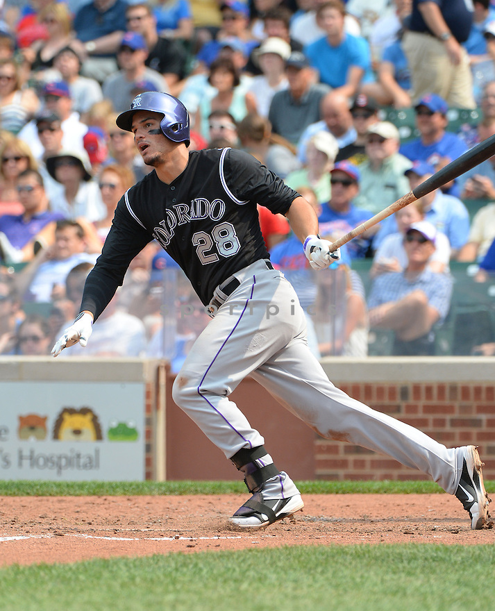 Colorado Rockies Nolan Arenado (28) during a game against the Chicago Cubs on July 29, 2014 at Wrigley Field in Chicago, IL. The Cubs beat the Rockies 4-3.