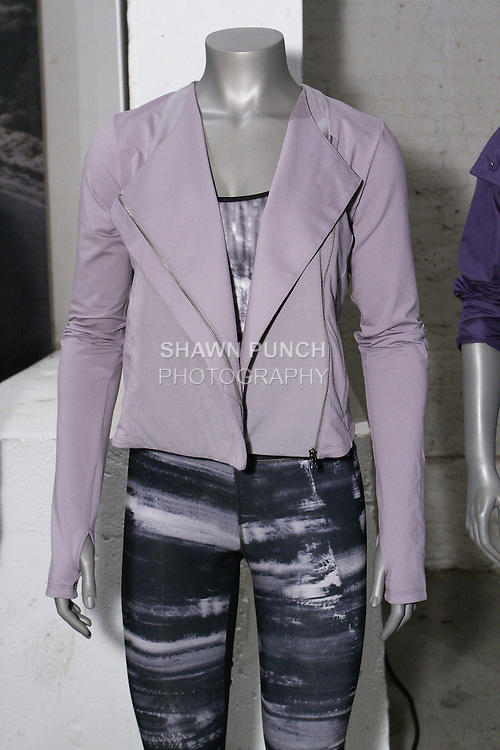 """Womenswear outfits displayed at the Under Armour, """"I will what I want"""" global women's campaign launch, on July 31, 2014, in New York City."""