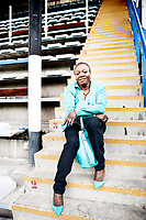 Adolphine Bolingoli-Lukaku, mother of Belgian football players Jordan and Romelu Lukaku, in the stadium of FC Rupel Boom where they both grew up (Belgium, 22/06/2016)