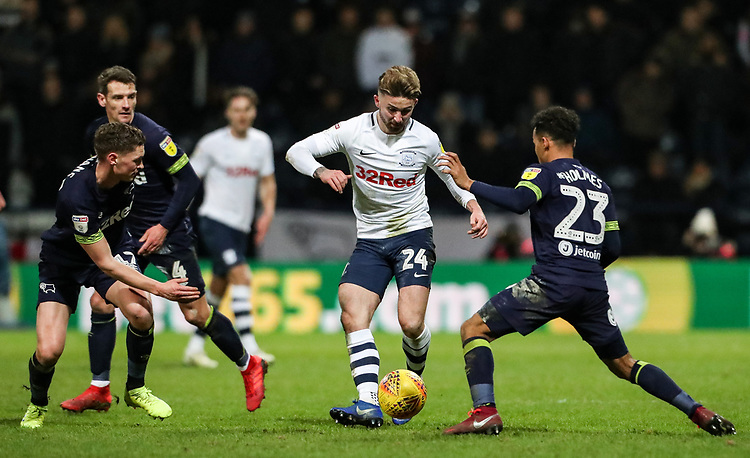 Preston North End's Sean Maguire confronts Derby County's Duane Holmes  <br /> <br /> Photographer Andrew Kearns/CameraSport<br /> <br /> The EFL Sky Bet Championship - Preston North End v Derby County - Friday 1st February 2019 - Deepdale Stadium - Preston<br /> <br /> World Copyright © 2019 CameraSport. All rights reserved. 43 Linden Ave. Countesthorpe. Leicester. England. LE8 5PG - Tel: +44 (0) 116 277 4147 - admin@camerasport.com - www.camerasport.com
