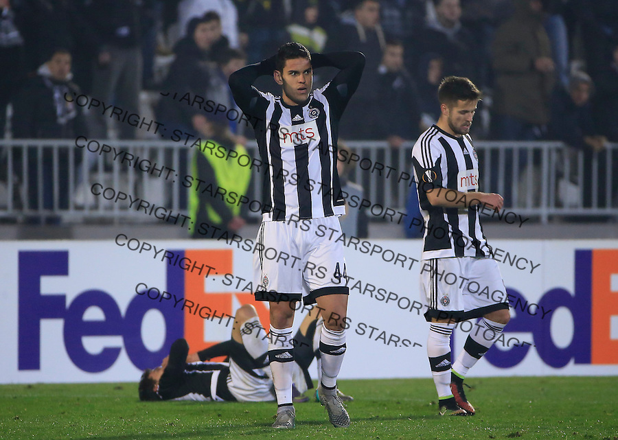 BELGRADE, SERBIA - DECEMBER 10 : Nemanja Petrovic (R) and Fabricio (C) of FK Partizan look dejected after the UEFA Europa League match between FK Partizan v FC Augsburg at Stadium FK Partizan on December 10, 2015 in Belgrade, Serbia.  (Photo by Srdjan Stevanovic/Getty Images)