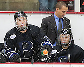 Derek Bacon (Bentley - 22), Ryan Soderquist (Bentley - Head Coach), Will Suter (Bentley - 10) - The Harvard University Crimson defeated the visiting Bentley University Falcons 3-0 on Saturday, October 26, 2013, in Harvard's season opener at Bright-Landry Hockey Center in Cambridge, Massachusetts.