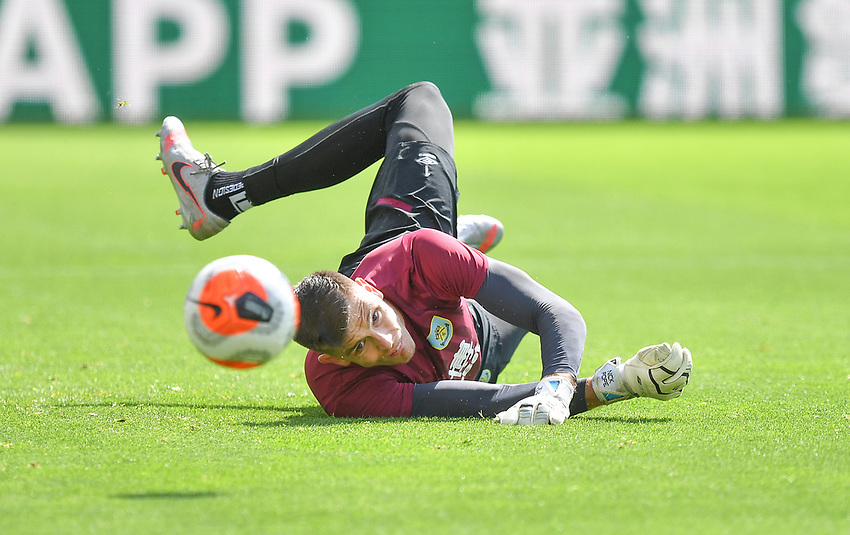 Burnley's Nick Pope warms up<br /> <br /> Photographer Dave Howarth/CameraSport<br /> <br /> The Premier League - Burnley v Brighton & Hove Albion - Sunday 26th July 2020 - Turf Moor - Burnley<br /> <br /> World Copyright © 2020 CameraSport. All rights reserved. 43 Linden Ave. Countesthorpe. Leicester. England. LE8 5PG - Tel: +44 (0) 116 277 4147 - admin@camerasport.com - www.camerasport.com