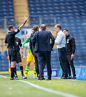 11th July 2020; Ewood Park, Blackburn, Lancashire, England; English Football League Championship Football, Blackburn Rovers versus West Bromwich Albion; West Brom manager Slaven Bilić can't believe that the referee booked his player Semi Ajayi of West Bromwich Albion