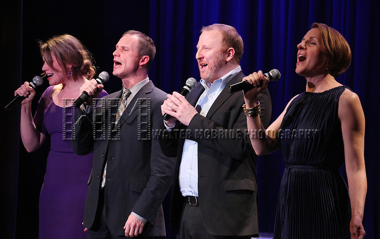Title of Show: Heidi Blickenstaff, Jeff Bowen, Hunter Bell & Susan Blackwell performing at the Vineyard Theatre's 30th Anniversary Gala Celebration Cocktail Reception at the Edison Ballroom in New York City on 3/18/2013