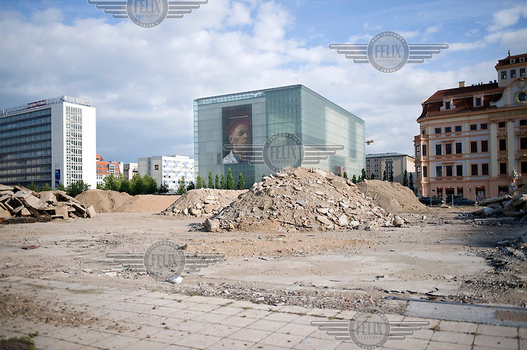 Remains of a condemned building in front of the Museum der bildende Kuenste art museum in Leipzig.