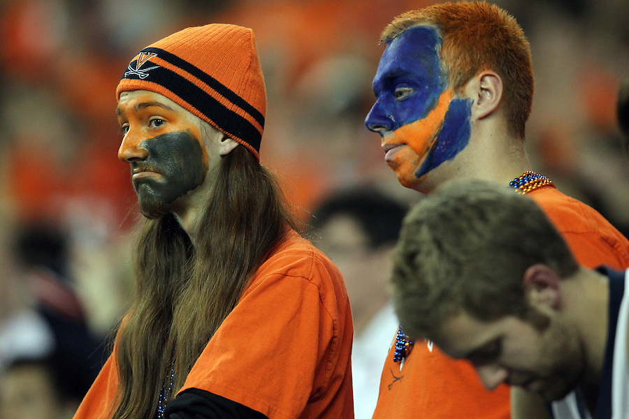 ATLANTA, GA - DECEMBER 31: Virginia Cavalier fans react during the 2011 Chick Fil-A Bowl against the Auburn Tigers at the Georgia Dome on December 31, 2011 in Atlanta, Georgia. Auburn defeated Virginia 43-24. (Photo by Andrew Shurtleff/Getty Images) *** Local Caption ***