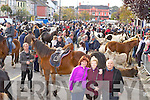 Marie Cronin Knocknagoshel shows the fair to  Hannah Mai and Tom Barry who travelled home from London for the Castleisland Horse Fair on Friday