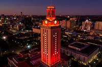 To celebrate the national championship, the UT Tower is lit in orange with the number one (No. 1) on each side during sunrise.