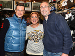 Joanne Bedford and Mark Fagan pictured with Fifth overall and a stage winner in the Vuelta a Espana (Tour of Spain) Nicolas Roche when he paid a visit to Quay Cycles Drogheda. Photo:Colin Bell/pressphotos.ie