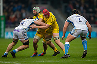 24th November 2019; AJ Bell Stadium, Salford, Lancashire, England; European Champions Cup Rugby, Sale Sharks versus La Rochelle; Kevin Gourdon of La Rochelle is tackled by Jean-Luc du Preez of Sale Sharks - Editorial Use