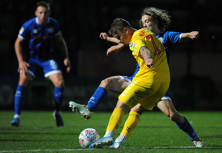 Bolton Wanderers' Thibaud Verlinden under pressure from Rochdale's Luke Matheson<br /> <br /> Photographer Kevin Barnes/CameraSport<br /> <br /> EFL Leasing.com Trophy - Northern Section - Group F - Rochdale v Bolton Wanderers - Tuesday 1st October 2019  - University of Bolton Stadium - Bolton<br />  <br /> World Copyright © 2018 CameraSport. All rights reserved. 43 Linden Ave. Countesthorpe. Leicester. England. LE8 5PG - Tel: +44 (0) 116 277 4147 - admin@camerasport.com - www.camerasport.com