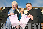HOMELESS HELP: Organising a fundraising evening on the 6th of January in Ballyseede are the members of the Friends of Kerry Homeless. From l-r: Tom Wall (Manager Arlington House), Mary Wall and Jerry O'Shea.   Copyright Kerry's Eye 2008