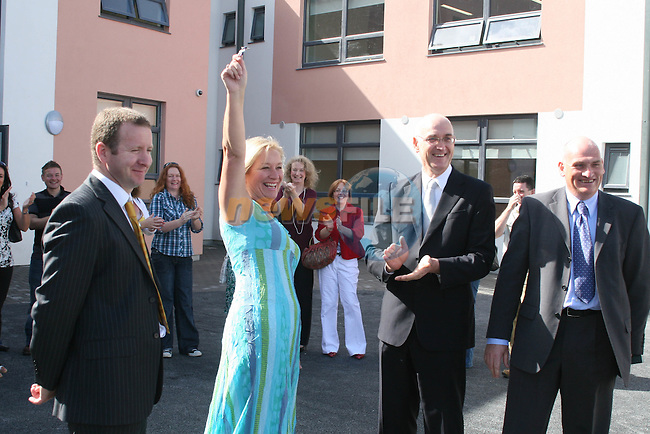 JP Hilliard, KSN Project Management, Fiona Rock, Principal, Dave O'Farrell, Salmon Construction and Paul Roue, CEO of Educate Together as the keys are handed over to the New Le Cheile School...Photo NEWSFILE/Jenny Matthews.(Photo credit should read Jenny Matthews/NEWSFILE)....This Picture has been sent you under the condtions enclosed by:.Newsfile Ltd..The Studio,.Millmount Abbey,.Drogheda,.Co Meath..Ireland..Tel: +353(0)41-9871240.Fax: +353(0)41-9871260.GSM: +353(0)86-2500958.email: pictures@newsfile.ie.www.newsfile.ie.FTP: 193.120.102.198.