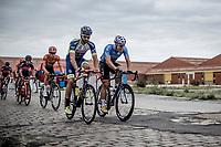 Stijn Steels (BEL/Veranda's Willems-Crelan), Guillaume Van Keirsbulck (BEL/Wanty-Groupe Gobert) riding the cobbles<br /> <br /> 103th Kampioenschap van Vlaanderen 2018 (UCI 1.1)<br /> Koolskamp – Koolskamp (186km)