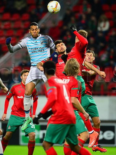 25.02.2016.  Moscow, Russia.  UEFA Europa league Last 32 second leg match between Lokomotiv Moscow and Fenerbahce at Lokomotiv Stadium in Moscow , Russia on February 25 , 2016. Josef de Souza of Fenerbahce.