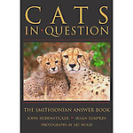 Done in question-and-answer format, this book includes every species of cat, from the domesticated ones we love to hug, to such predators as cheetahs, lions, tigers, leopards, jaguars, lynx, ocelots, panthers, and pumas. Subjects dealt with include physical features and senses, diet and predation, social behavior, evolution, decline and recovery, diversity, distribution and abundance, and the cats' roles in various cultures. Did you know that a male and female lion mate repeatedly, as often as every 20 minutes for several days? Or that lions may sleep or rest up to 19 hours a day? The text is augmented by 120 color photographs by Art Wolfe, a world-renowned photographer, and a list of scientific and common names and a glossary.<br /> <br /> Available online at <br /> <br /> http://www.amazon.com/Cats-Question-Smithsonian-Answer-Smithsonians/dp/B005OL8KI4/ref=sr_1_1?ie=UTF8&amp;qid=1324078312&amp;sr=8-1