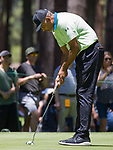 Dell Curry putts during the ACC Golf Tournament at Edgewood Tahoe Golf Course in South Lake Tahoe on Sunday, July 14, 2019.